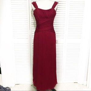 Amsale Red Long Formal Silk Dress